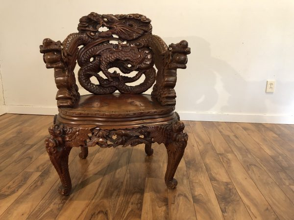 Antique Japanese Carved Dragon Chair – $1195