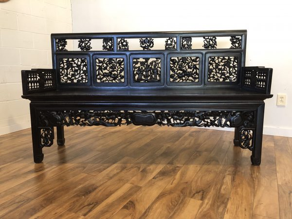 Carved Chinese Rosewood Bench – $1250