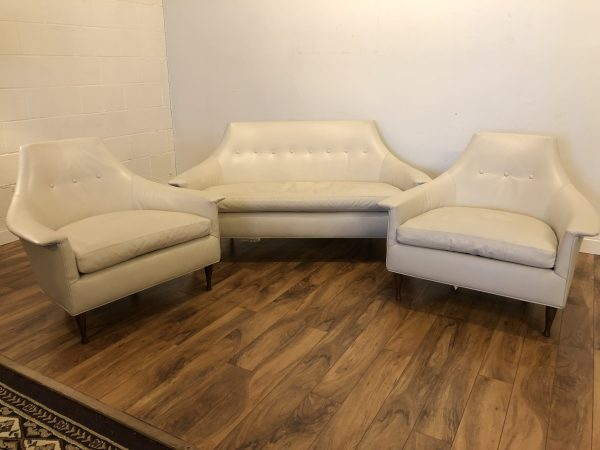 SOLD – Massoud Modern Leather Chairs & Loveseat