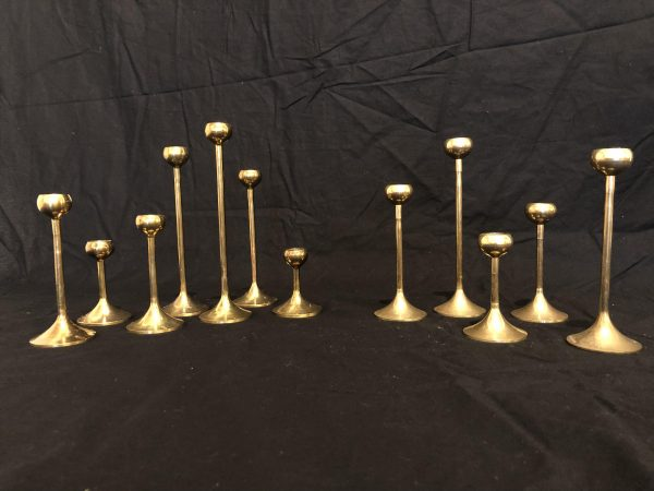 Brass Vintage Candle Holders, Set of 12 – $120