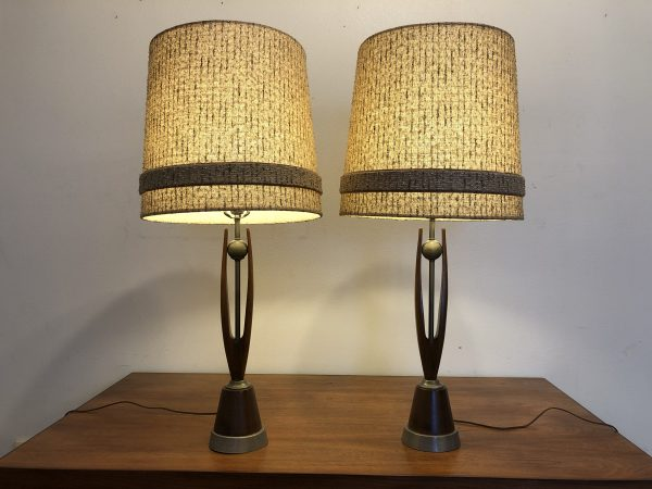 Mid Century Wood & Metal Lamp Pair – $450
