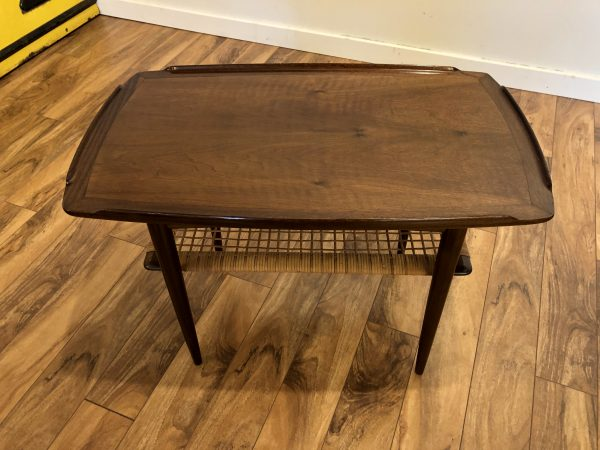Selig Side Table with Cane Shelf – $150