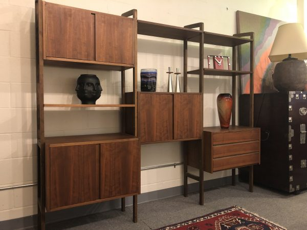 SOLD – Free Standing Mid Century Walnut Wall Unit
