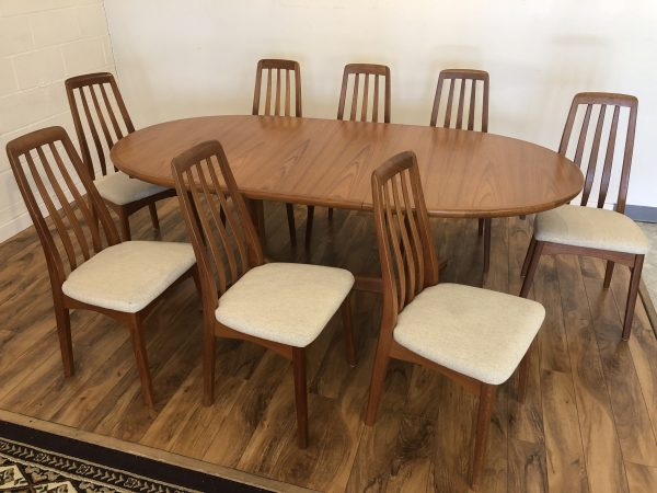 Skovby Teak Dining Table & 8 Benny Linden Chairs – $2195