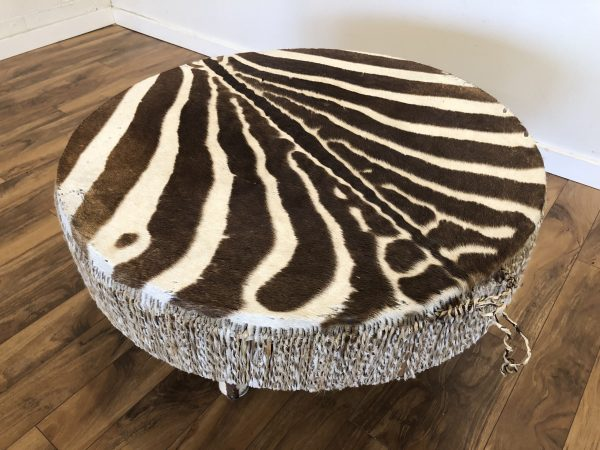Zebra Hide Vintage Drum Table – $1195
