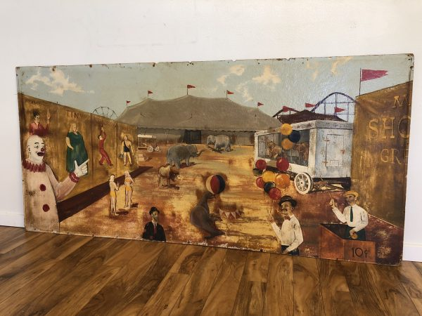 Large Antique Circus Painting on Board – $1200