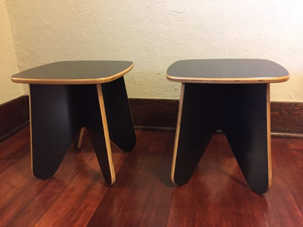 Black Plywood Vintage End Table Pair – $190