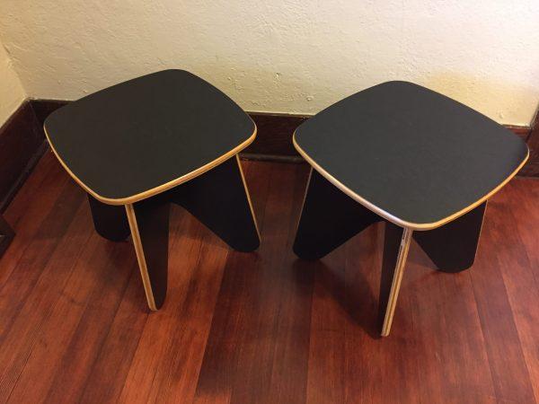 SOLD – Black Plywood Vintage End Table Pair