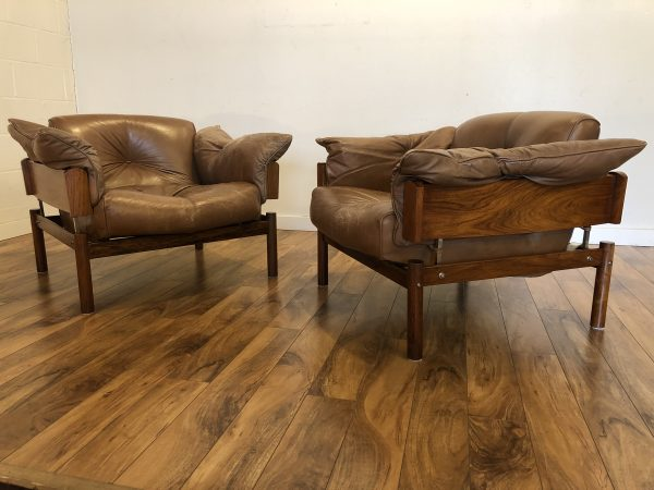 Percival Lafer Rosewood & Leather Chairs, Pair – $5995