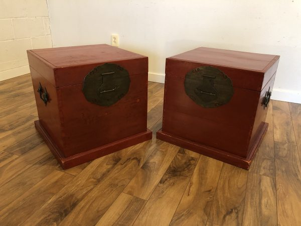Chinese Small Red Storage Trunks, Pair – $350