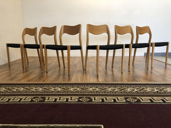 JL Moller Model 71 White Oak Chairs, Set of 6 – $2595
