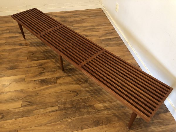 Mid Century Long Walnut Slat Bench – $1150