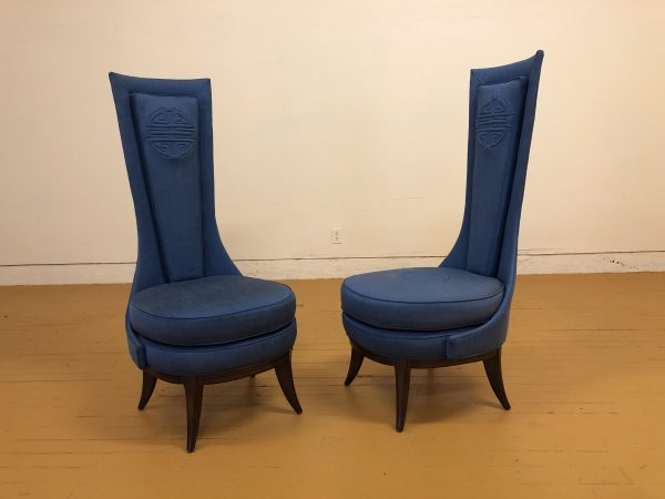 Pair of Tall Back Blue Vintage Chairs – $795