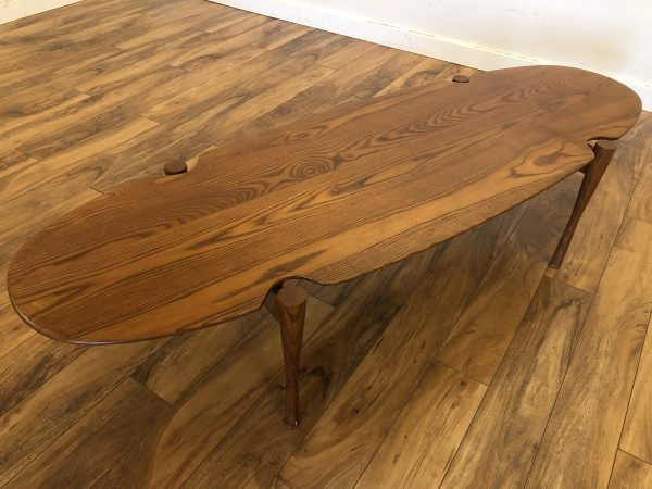 Teak Oval Coffee Table with Floating Top – $800