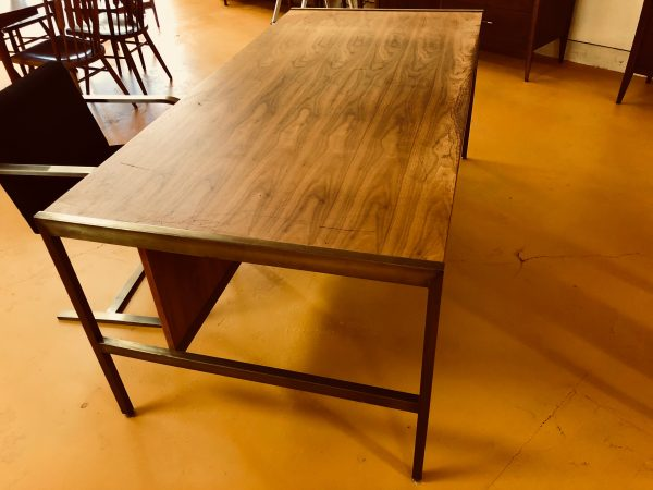 Mid Century Walnut & Brass Executive Desk – $795