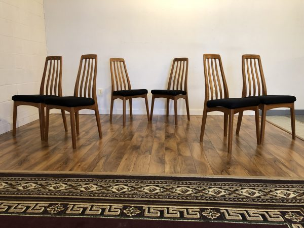 Benny Linden Teak Dining Chairs, Set of 6 – $900