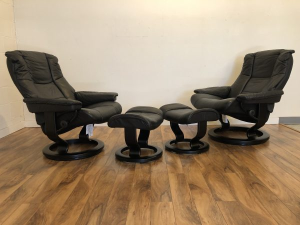 Ekornes Mayfair Black Recliners & Ottomans