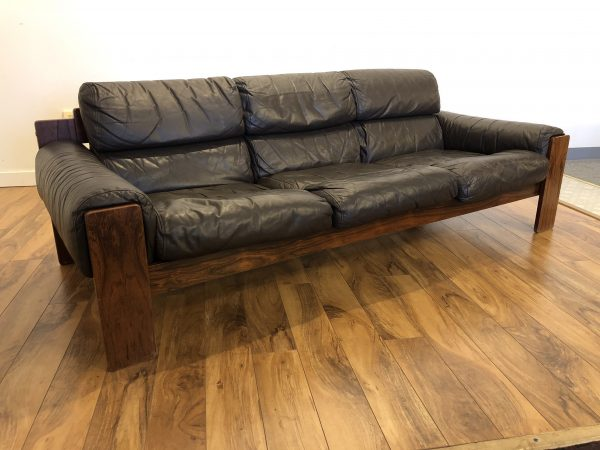 Uu-Vee Kaluste Oy Rosewood & Leather Sofa – $1495