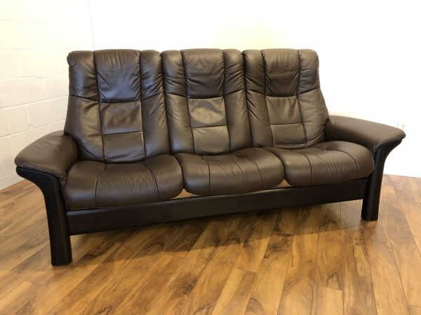 Ekornes Windsor Brown Leather Reclining Sofa – $1895