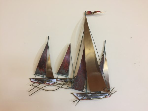Curtis Jere Signed Sailboat Wall Sculpture – $350