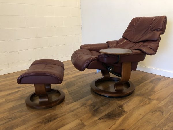 Ekornes Reno Medium Burgundy Chair & Ottoman – $1250