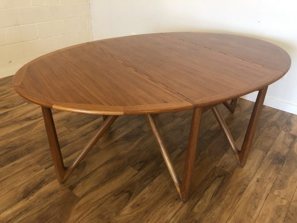 Danish Modern Teak Gate Leg Dining Table – $2875