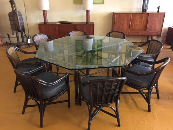 McGuire Octagonal Glass Dining Table & 8 Chairs – $5995