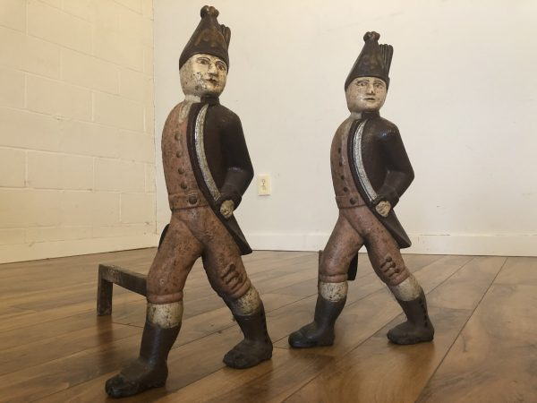 Antique Hessian Soldiers Andirons Pair – $750