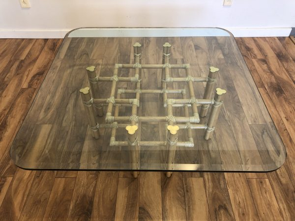 McGuire Large Rattan & Glass Cocktail Table – $1595