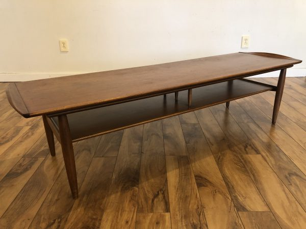 SOLD – Mid Century Walnut Surfboard Coffee Table