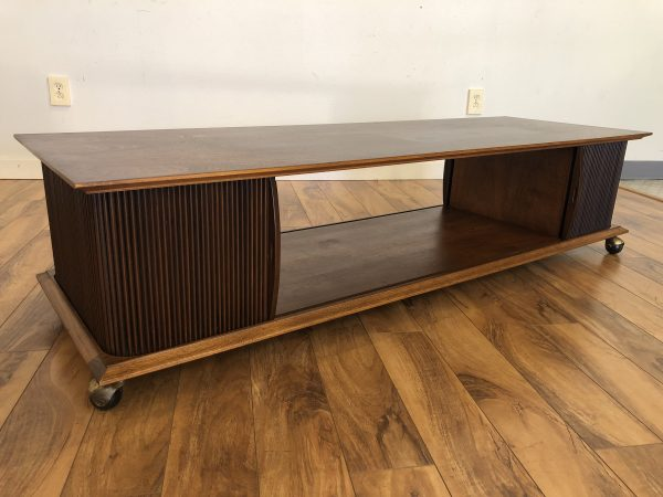 Lane Walnut Tambour Door Coffee Table – $475