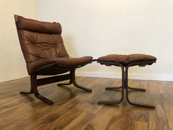 Westnofa Siesta High Back Brown Chair & Ottoman – $750