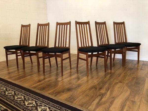 Teak Slat Back Dining Chairs, Set of 6 – $1195