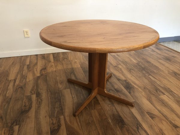 Teak Round Expandable Dining Table – $450