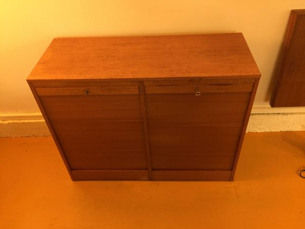 Teak Tambour Door File Cabinet – $450