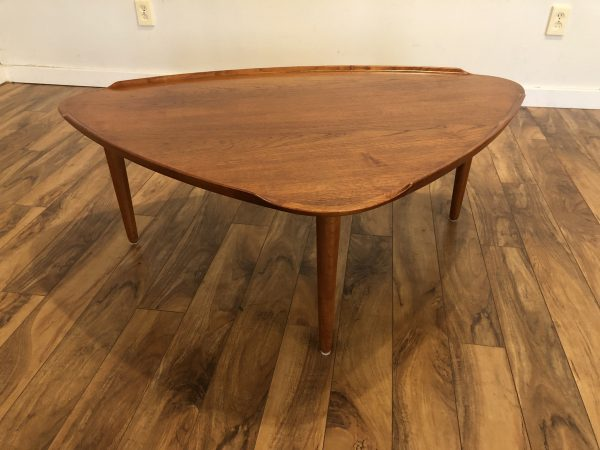 Aakjaer Jorgensen Danish Teak Triangular Coffee Table – $1250