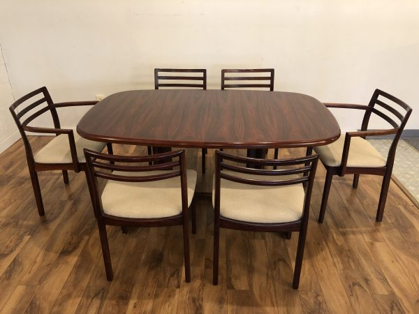 Danish Rosewood Dining Table & Six Chairs – $2595