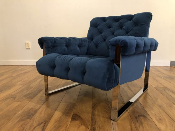 Mid Century Chrome Tufted Lounge Chair – $1495