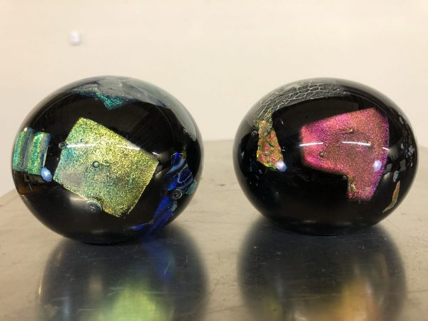 Studio Art Glass Paperweights Pair – $85