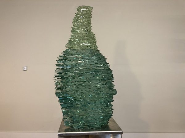 Large Modern Fractured Glass Sculpture – $895