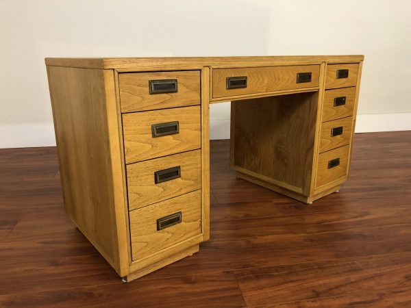 Vintage Parquet Top Oak Writing Desk – $850