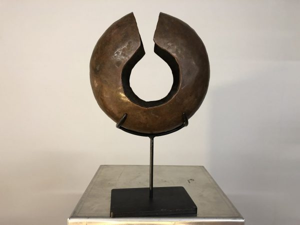 Vintage Copper Biomorphic Sculpture on Stand – $450