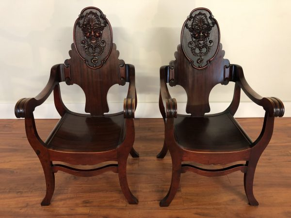 North Wind Face Carved Chairs Pair – $1250