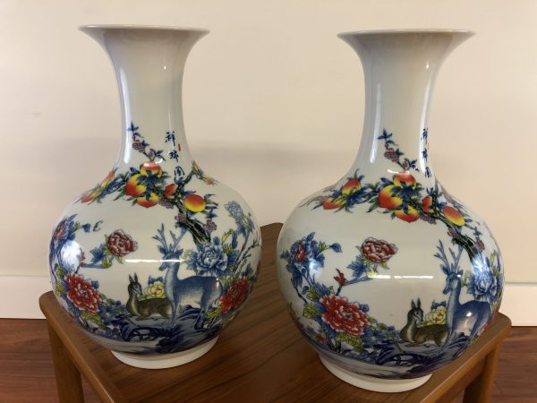 Chinese Large Painted Vases Pair – $395