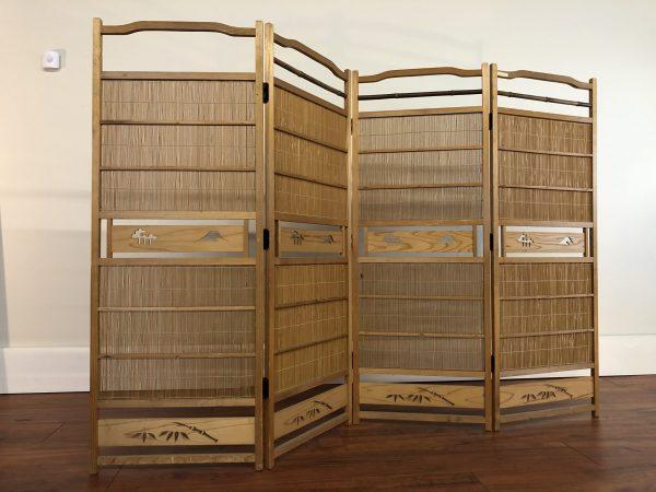Japanese 4 Panel Wood & Bamboo Screen – $295
