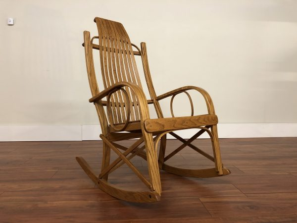 Vintage Oak Bent Wood Rocking Chair – $450