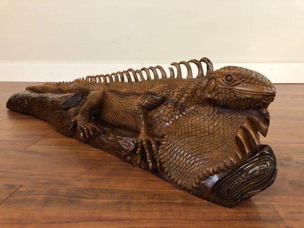 Hand Carved Large Wooden Iguana – $395