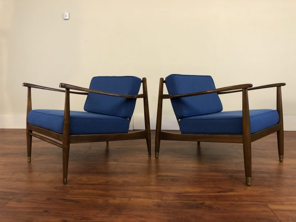 Mid Century Walnut Lounge Chairs Pair – $2495