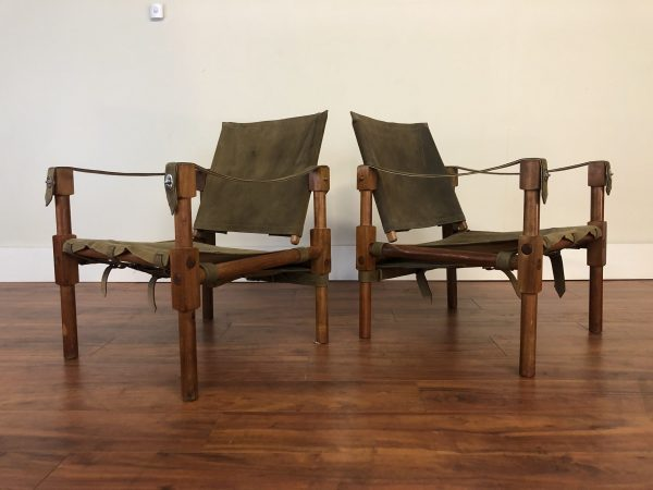 SOLD – Vintage Leather & Wood Safari Chairs Pair