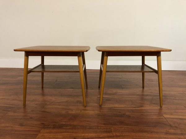 Teak & Beech End Tables Pair – $695